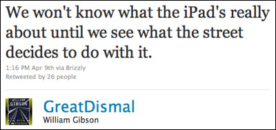 William Gibson tweet